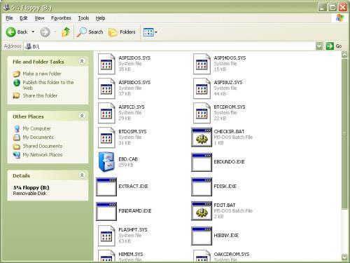 windows xp start diskette